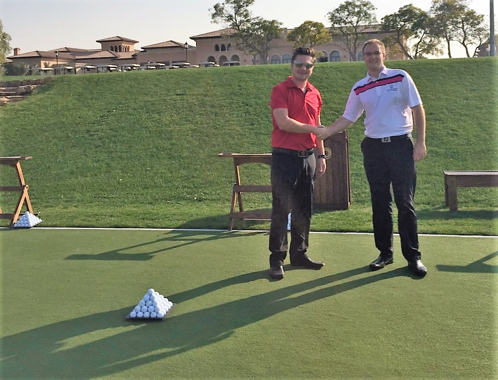 David Gray, Managing Partner, Huxley Golf Middle East (DG Golf LLC) with Alasdair Danson Webster, Golf Operations Manager, Jumeirah Golf Estates celebrate the opening of the new Huxley Golf Practice Tee.